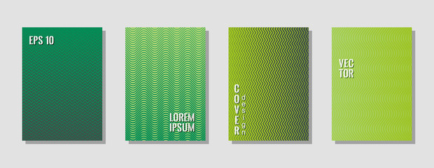 Indie green style zig zag banner templates, wavy lines gradient stripes backgrounds for music party cover. Curve shapes stripes, zig zag edge lines halftone texture gradient flyers set.