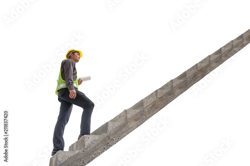 Asian business man construction engineer hold blueprint paper asian business man construction engineer hold blueprint paper walking up stairway isolated on white background with malvernweather Image collections