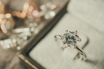 luxury engagement Diamond ring in jewelry gift box