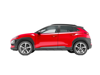 Modern red car crossover side view 3d render on white background no shadow