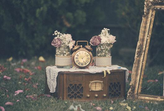 Vintage wedding decoration still life