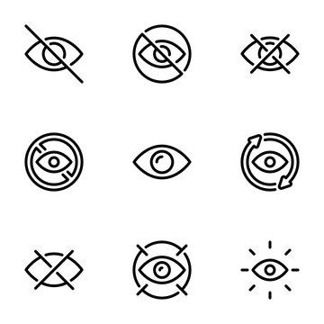 Set of black vector icons, isolated on white background, on theme Eye