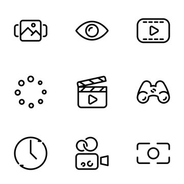Set of black vector icons, isolated on white background, on theme Content Creation, Preview and Rendering
