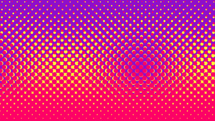 Halftone gradient pattern vector illustration. Yellow pink dotted, purple halftone texture. Pop Art style purple yellow pink halftone, comics Background. Background of Art. Dots background. AI10