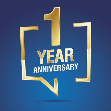 1 Year Anniversary gold white blue logo icon