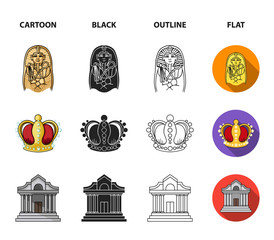 Picture, sarcophagus of the pharaoh, walkie-talkie, crown. Museum set collection icons in cartoon,black,outline,flat style vector symbol stock illustration web.