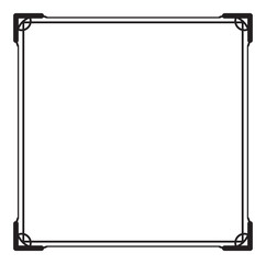 Black and white square frame with simple ornament.