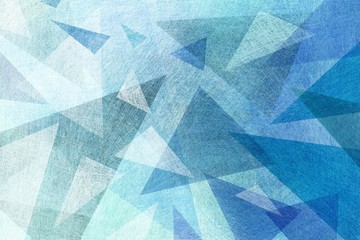 blue background with abstract geometric design with layers of triangle shapes in blue green and white colors with texture design element