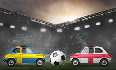 Sweden and England flags on cars with soccer or football ball at stadium