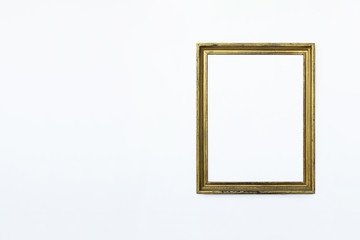 Gold rectangular frame right for painting or picture on white background. Isolated. Add your text.