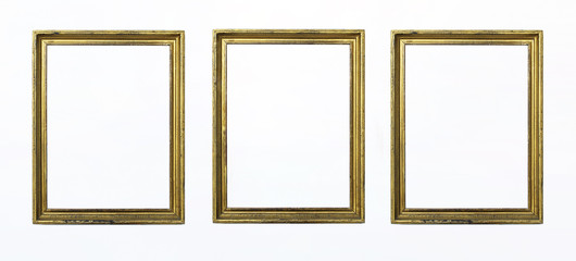 Three gold rectangular frames for painting or picture on white background. Isolated. Add your text.