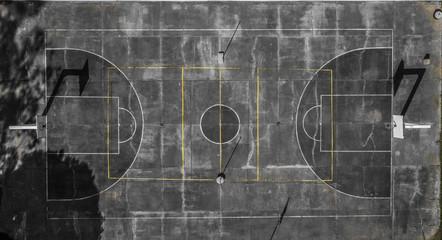 canchas de basquetbol en plano cenital artistica