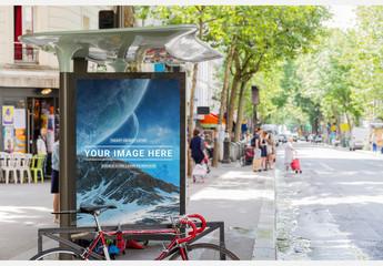 Outdoor Bus Stop Advertising Kiosk Mockup