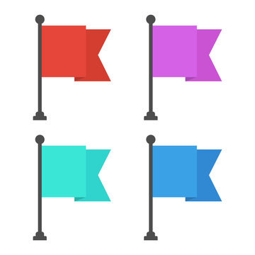 Simple, flat flag icon. Four color variations. Isolated on white