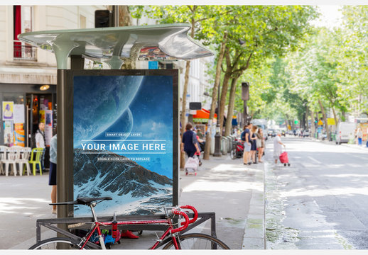 Outdoor Bus Stop Advertising Kiosk Mockup