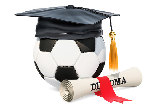 Sports education concept. Soccer ball with graduation cap and diploma. 3D rendering