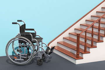 Wheelchair and stairs, 3D rendering