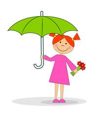 Девочка с зонтом. Вектор