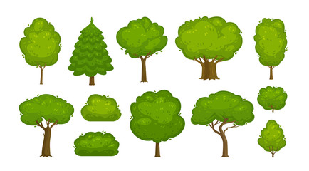 Trees and bushes set of icons. Forest, nature, environment concept. Cartoon vector illustration