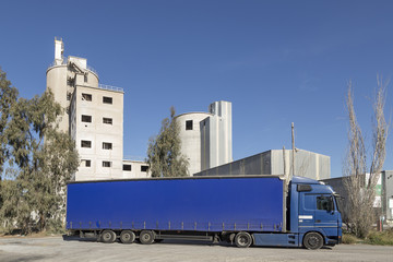 truck in front of the cement factory, Sagunto, Valencia, Spain