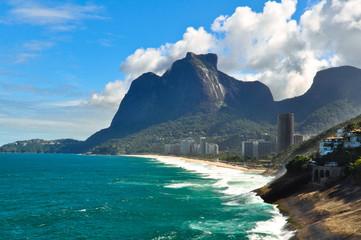Rio de Janeiro Coastline with Sao Conrado Beach and Pedra da Gavea Rock