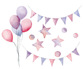 Watercolor birthday set with pastel elements. Hand painted air balloons, flag garlands, stars and confetti isolated on white background. Festive decor for design, print or background
