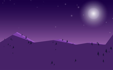 Canvas Prints Violet Low poly beautiful mountain night landscape.