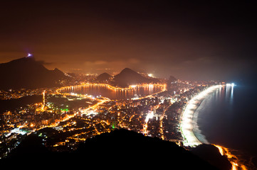 Night View of Rio de Janeiro with Lake and Ipanema Beach