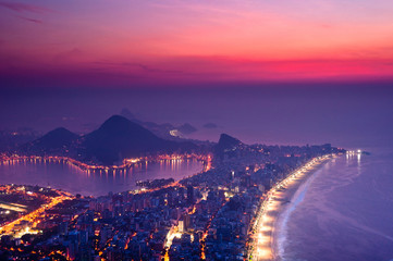 Night View Of Rio de Janeiro with Ipanema Beach, Hills, Lagoon and Urban Areas Just Before the Sunrise
