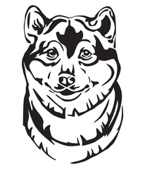 Decorative portrait of Dog Shiba Inu vector illustration