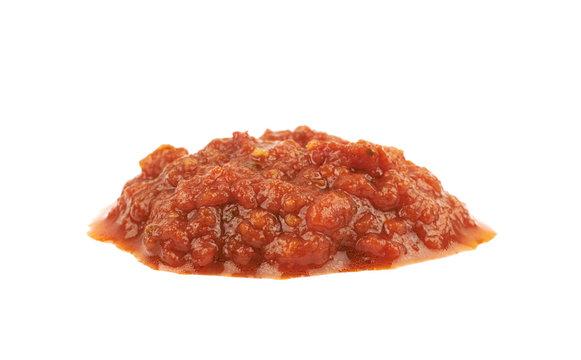 Puddle of marinara tomato sauce