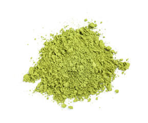 Powdered matcha tea on white background