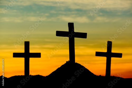 crucifixion of jesus christ at sunrise silhouette three crosses on