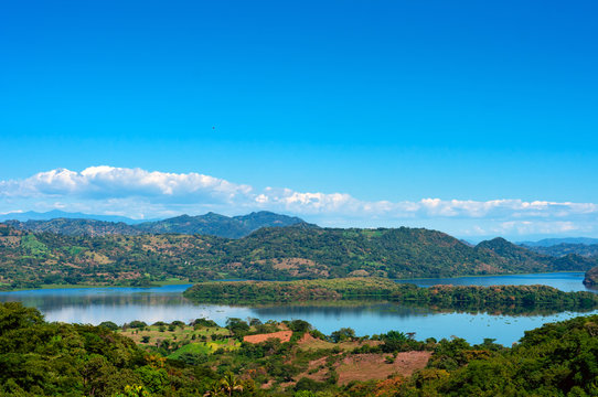 A panoramic view of the Suchitlan lake in El Salvador, Central America