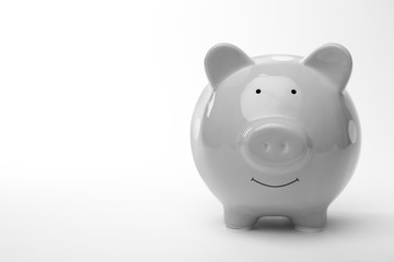 Cute piggy bank on white background. Money saving