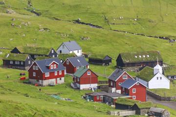 Traditional village of Mykines, Mykines island, Faroe Islands, Denmark