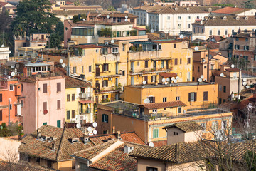 Old colourful residential housing seen from Janiculum Hill, Rome, Lazio, Italy, Europe