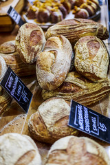 Bread stand in Borough Market, Southwark, London, England, United Kingdom, Europe