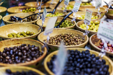 Olive stand in Borough Market, Southwark, London, England, United Kingdom, Europe