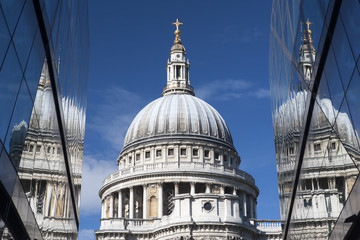 Reflections of St. Paul's Cathedral, London, England, United Kingdom, Europe