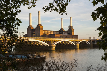 Battersea Power Station and Battersea Bridge, London, England, UK