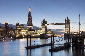 Tower Bridge and The Shard illuminated at dusk, London, England, United Kingdom, Europe