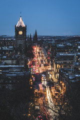 Princes Street at dusk, Edinburgh, Lothian, Scotland, United Kingdom, Europe