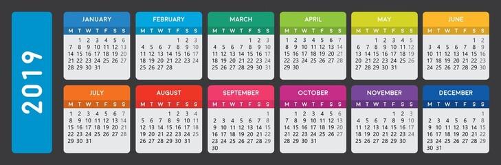 calendar 2019. Week starts on monday.
