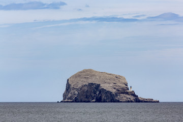 Bass Rock, a tiny uninhabited island in the Firth of Forth, home to a large colony of gannets, East Lothian, Scotland, United Kingdom, Europe
