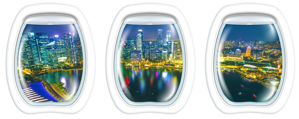 Porthole windows interior on marina bay financial district of Singapore. Asian skyscrapers reflected on the harbor by night. Scenic flight above Singapore skyline. Night aerial scene white background.