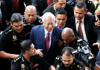 Former Malaysian prime minister Najib Razak arrives to court in Kuala Lumpur, Malaysia