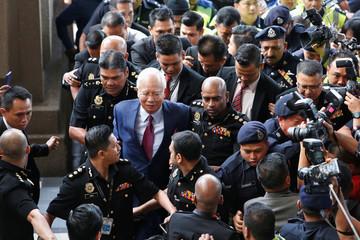 Former Malaysian prime minister Najib Razak arrives in court in Kuala Lumpur