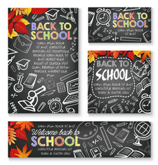 Back to School vector chalkboard study posters