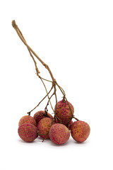 Image of Fresh Lychee Kom (Litchi Chinensis) on white background. Vegetables. Food.